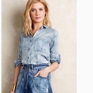 Anthropologie Cloth & Stone Chambray Tunic Shirt